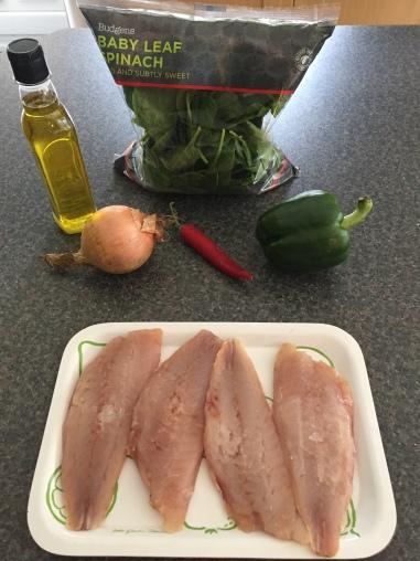 Ingredients for Mbisi Ye Kalou (fish stew)