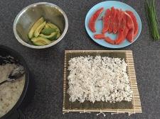 Preparing Maki-zushi (sushi rolls)
