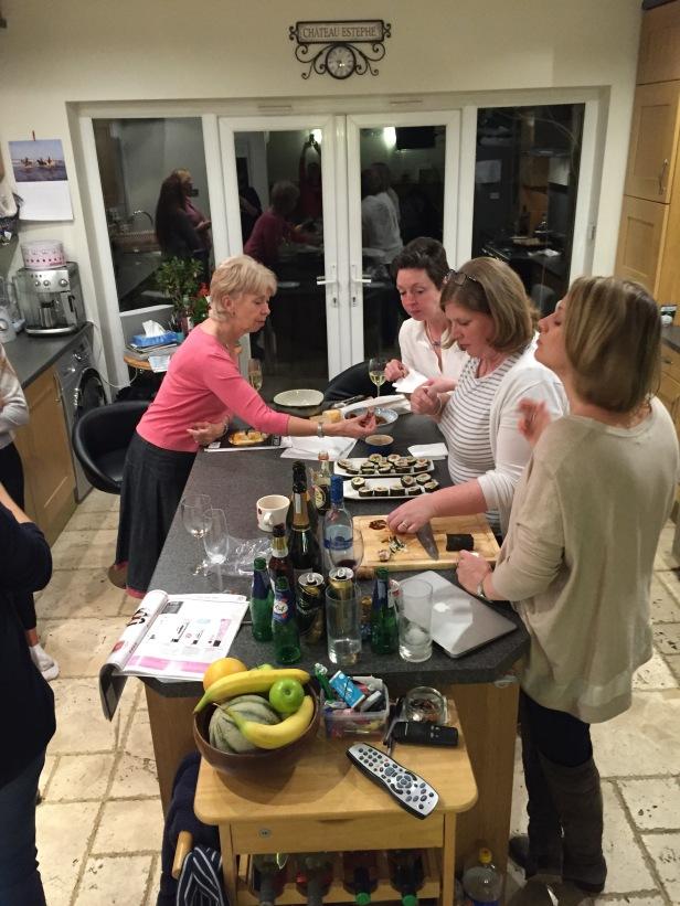 Friends enjoying Maki-zushi (sushi rolls)