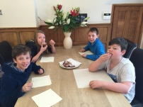 The kids tucking into breakfast