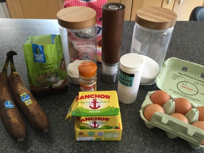 Ingredients for Date & Banana loaf
