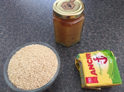 Ingredients for Meni-meniyong (Sesame seed sticks)