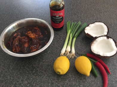 Ingredients for Kelaguan chicken