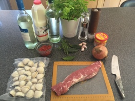 Ingredients for Alentejana pork and clam stew (carne de porco a alentejana)