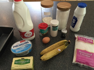 Ingredients for Honduran banana and coconut bread