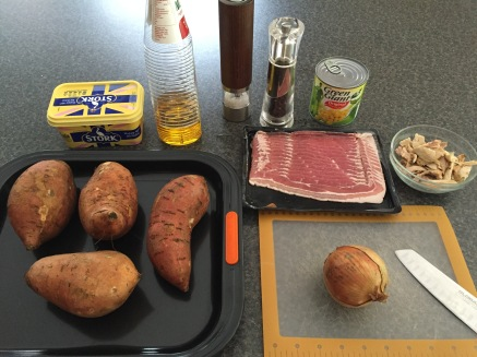 Ingredients for stuffed sweet potatoes