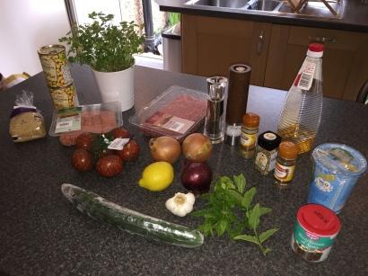 Ingredients for Jordan Mezze