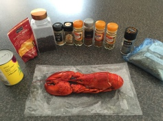 Ingredients for Lobster with coconut curry dip