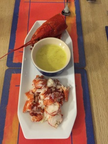 Lobster with coconut curry dip