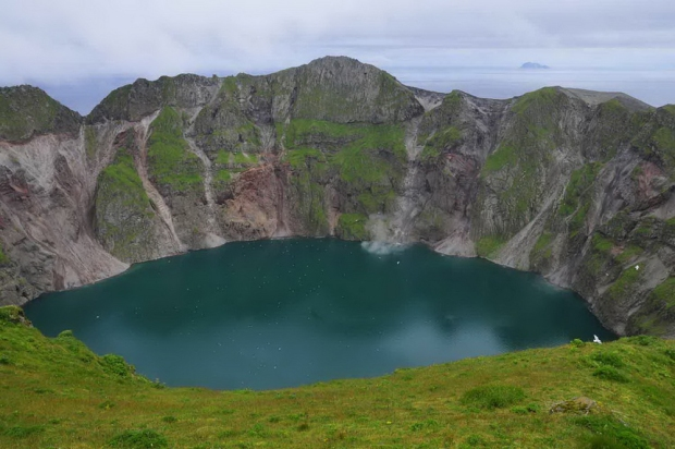 Summit crater and crater lake of Kasatochi volcano, August 6, 20