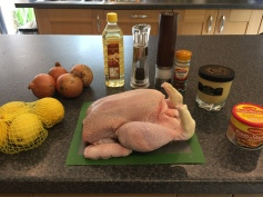 Ingredients for Poulet Yassa (chicken marinated with onions and lemons)