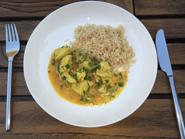 Poulet au Coco (Comorian coconut chicken) with Zimbabwean peanut butter rice