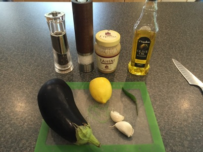 Ingredients for Motabel (aubergine dip)