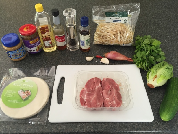 Ingredients for Goi Cuon (salad rolls)