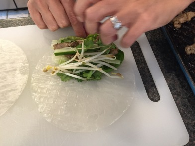 Rolling the Goi Cuon (salad rolls)