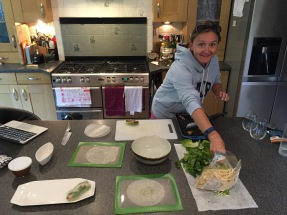 Making the Goi Cuon (salad rolls)