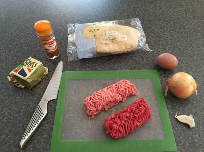 Ingredients for Ćevapi (meat kebabs)