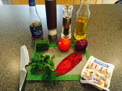 Ingredients for Shopska salad