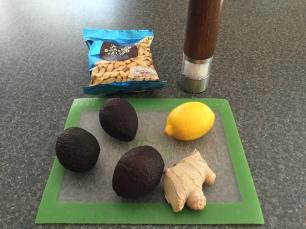 Ingredients for Slaai (avocado & peanut salad)