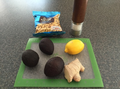 Ingredients for Slaai (avocado & peanut salad)