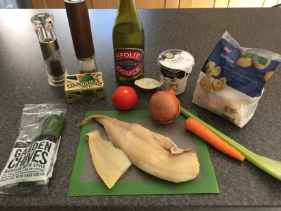 Ingredients for Plokkfiskur (fish stew)