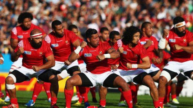 Tonga rugby team performing sipi-tau