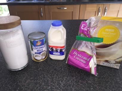 Ingredients for Pudim de Coco (coconut pudding)