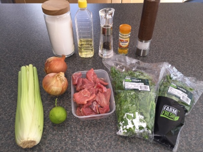Ingredients for Khoresht-e Karafs (lamb and celery stew)