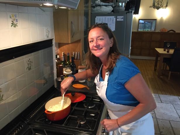 Cooking Khoresht-e Karafs (lamb and celery stew)