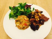 Lahm Lhalou (Algerian Sweet Lamb) with roasted vegetable couscous
