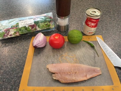 Ingredients for Kokoda (raw fish salad)