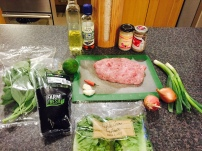 Ingredients for Larb (marinated meat salad)
