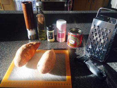 Ingredients for Liberian Sweet potato pone