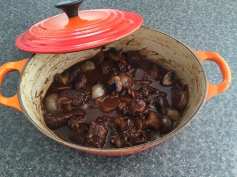 Bœuf bourguignon (beef braised in red wine with onions and mushrooms)